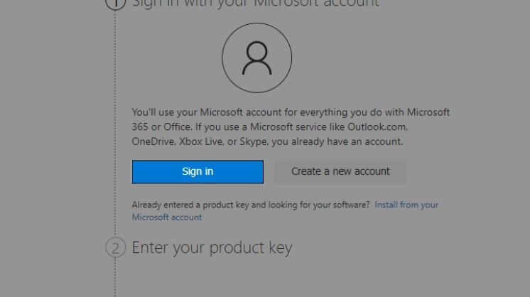 Sign In or Create a new Office Account