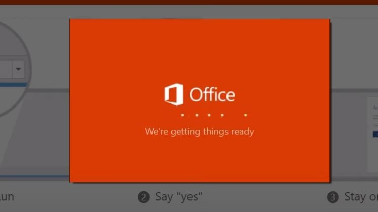 Wait for Office to complete the installation